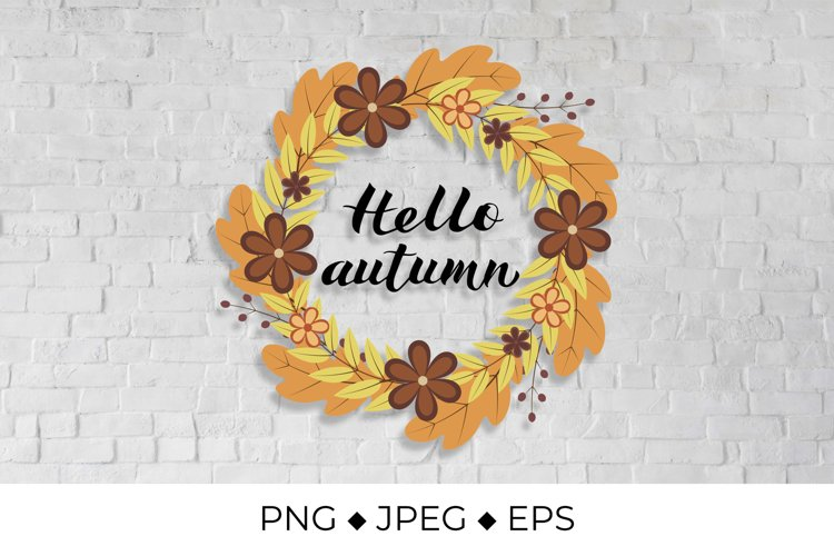 Hello Autumn lettering in Wreath of colorful leaves example image 1