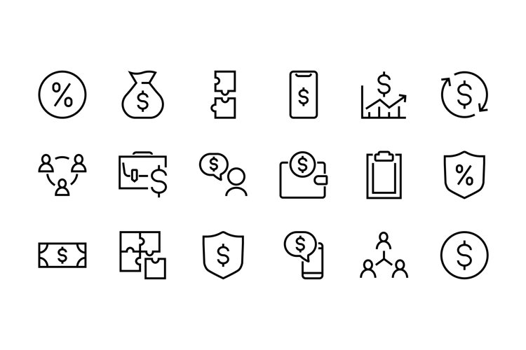 Business and Finance Linear Icons Set, Vector EPS 10