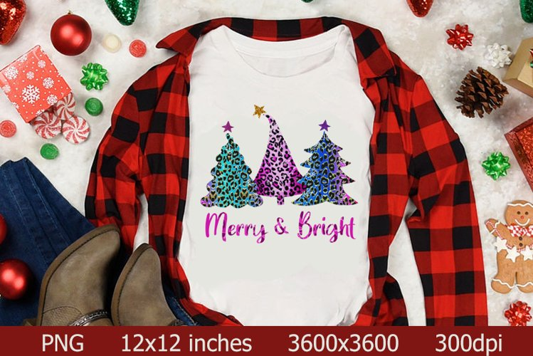 Christmas Trees Sublimation PNG,Merry Bright Christmas Trees example image 1
