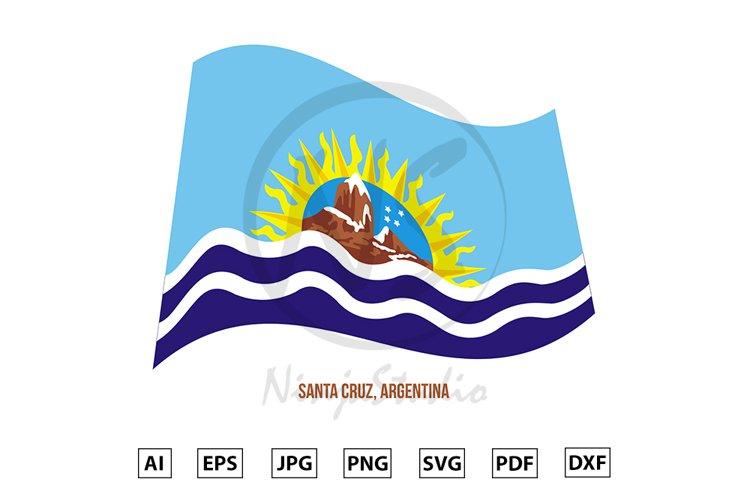 Santa Cruz Flag Waving Vector. Flag of Argentina Provinces example image 1