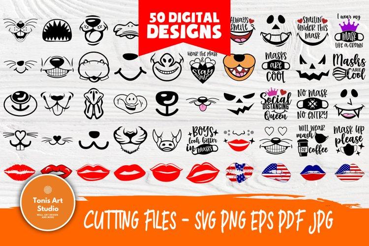 Kids Face Mask SVG Bundle, Quarantine Svg, Face Mask Signs example image 1
