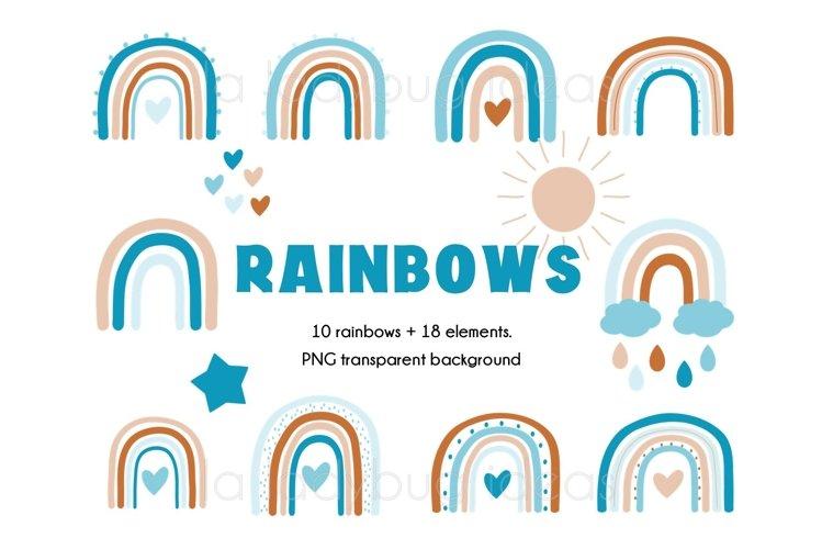 Rainbows clipart. Blue and creme rainbows clip art. 28 PNG