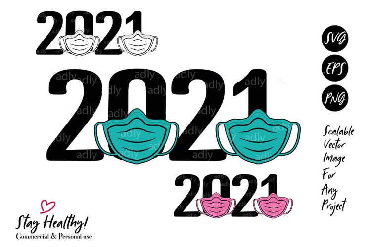 2021 New Year Mask Quarantine SVG PNG EPS clip art example image 1