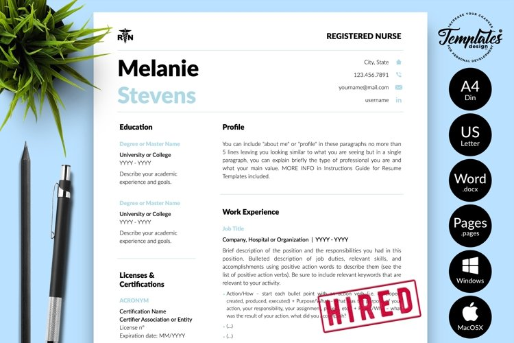 Nurse Resume CV Template for Word & Pages Melanie Stevens example image 1