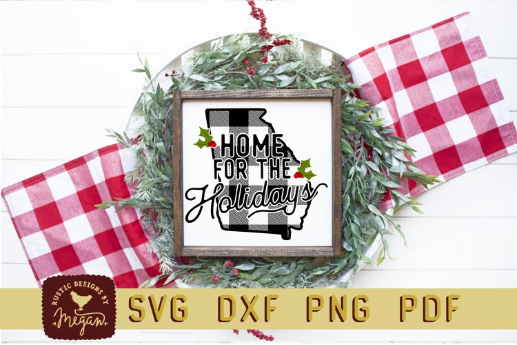 Georgia Buffalo Plaid Home Bundle State SVG DXF Cut File example image 1