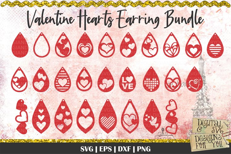 Valentine Hearts Earring Bundle | Earrings SVG Cut files example image 1