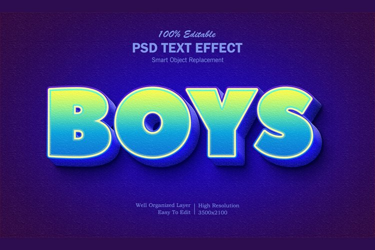3D Boys Text Effect example image 1