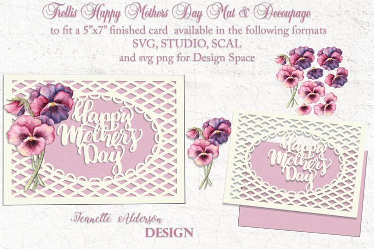 Mothers Day trellis card and pansy decoupage cutting file example image 1