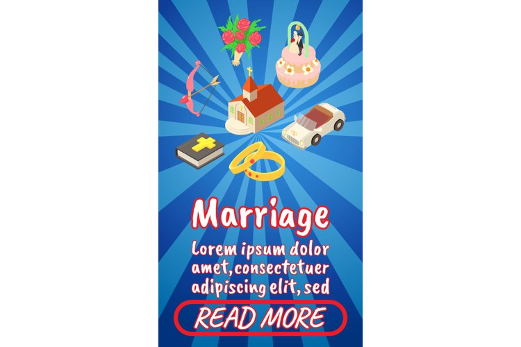 Marriage concept banner, comics isometric style example image 1
