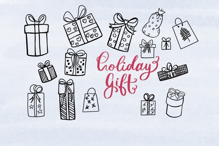 Holiday gift box clipart example image 1