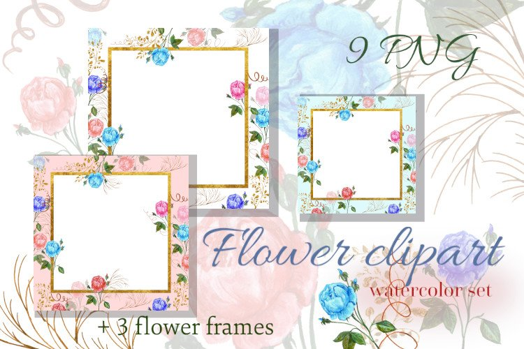 Watercolor flowers set pink, turquoise and gold hand painted example image 1