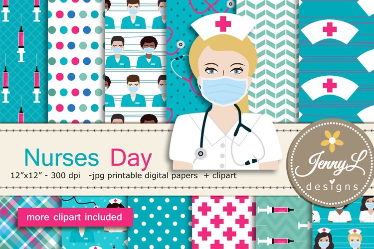 Nurses Day Digital Papers and Stethoscope Clipart