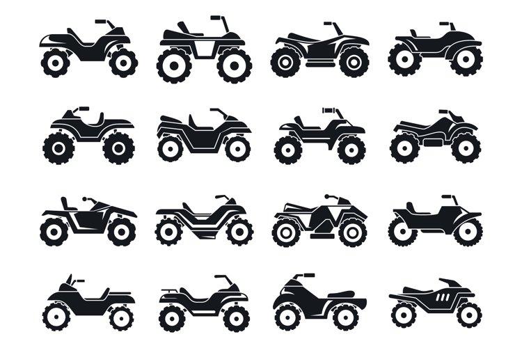 Race quad bike icons set, simple style example image 1