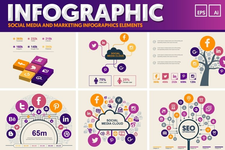 Social Media Infographic Elements example image 1