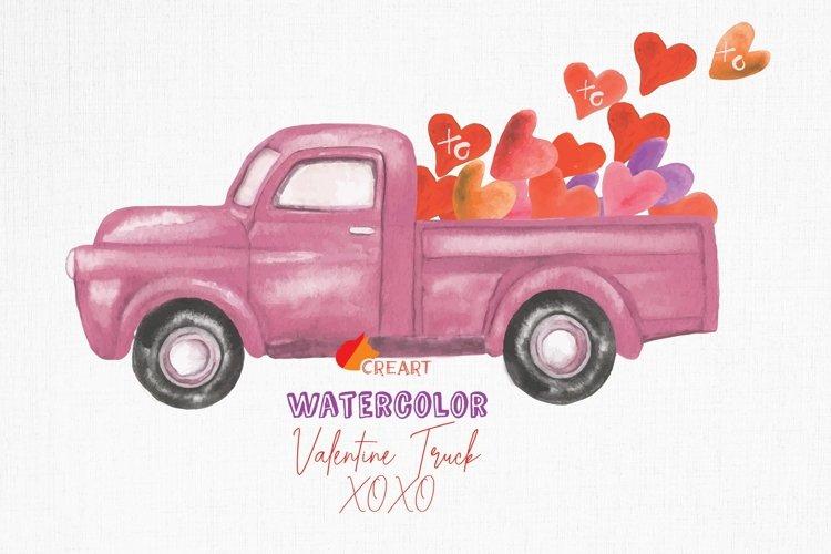 Download Watercolor Vintage Valentine Truck Load With Kisses Xoxo Png 411572 Illustrations Design Bundles