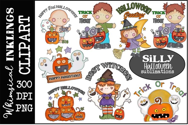 Silly Halloween Clipart-Sublimation Bundle example image 1
