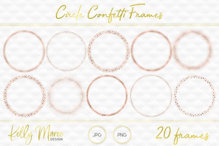 Rose Gold Circle Confetti Frames