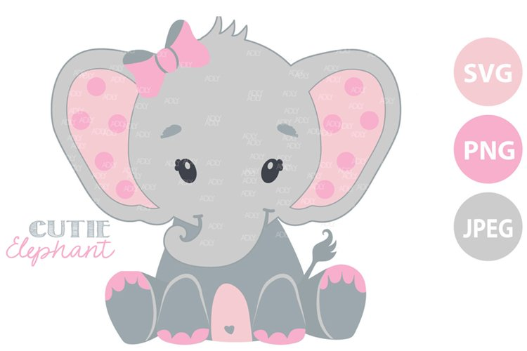 Pink and grey baby elephant SVG, clip art, cricut file PNG example image 1