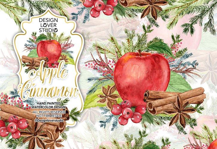 Watercolor Apple Cinnamon design example image 1