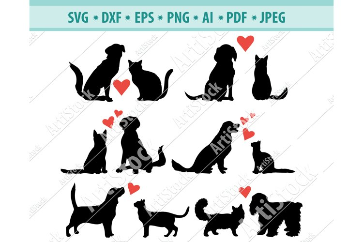 Cat & Dog SVG, Cat and Dog with heart Png, Animals Dxf, Eps example image 1