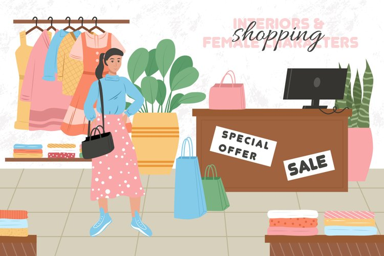 Shopping woman characters example image 1