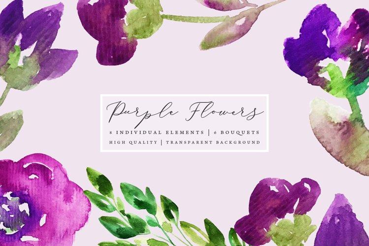 Hand painted purple flowers, floral clip art set example image 1