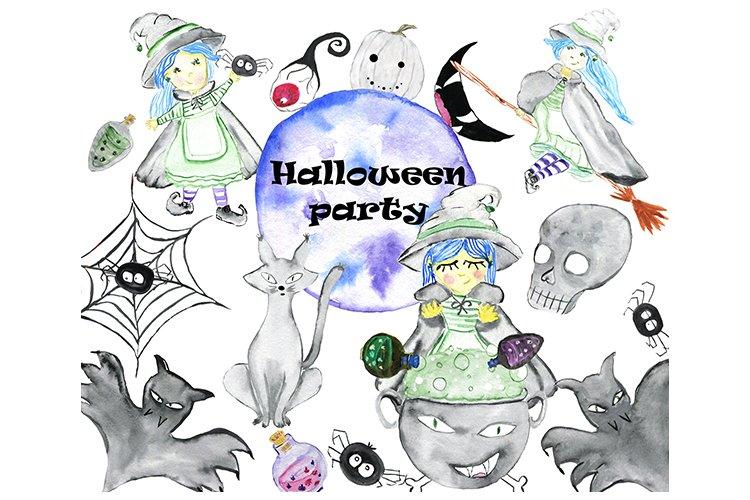 Halloween party. Halloween clip art. Watercolor Halloween. example image 1