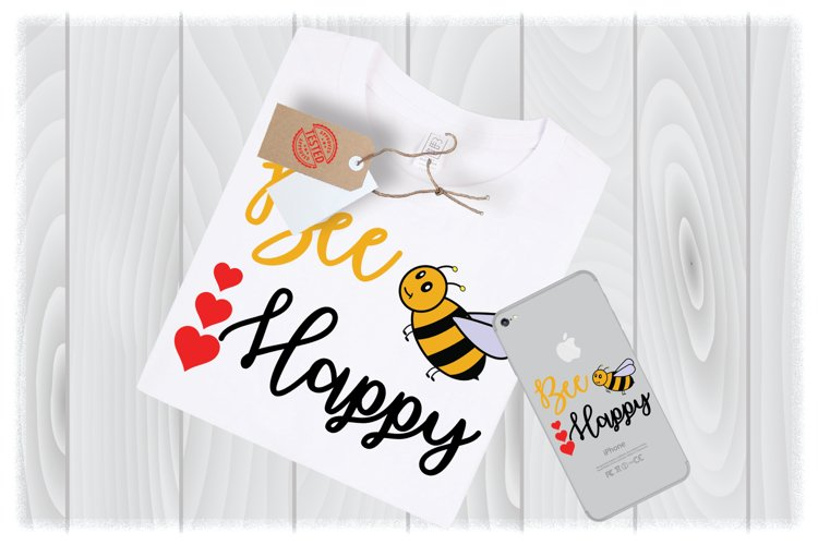 Bee Happy Svg Files For Cricut Designs | Valentine SVG File example image 1