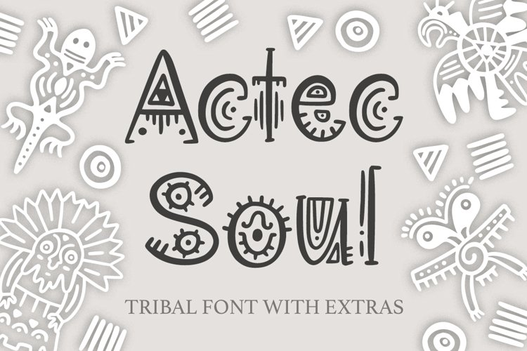 Aztec Soul. Tribal font with extras. example image 1