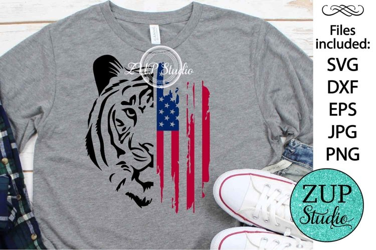 Tiger with Flag Design Digital Cutting files 500 example image 1