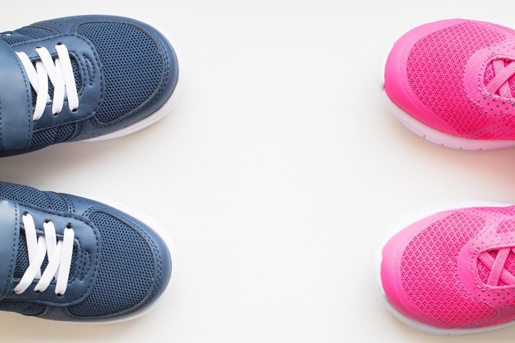Kids sneakers on pink. kids fashion. example image 1