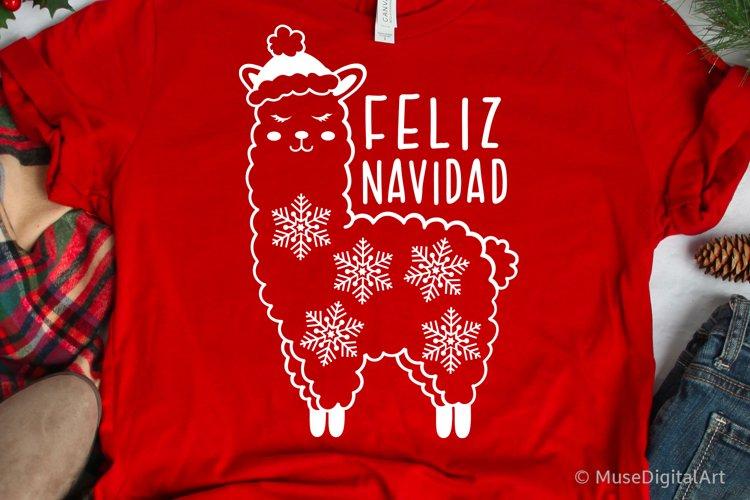 Christmas Llama Svg, Feliz Navidad Svg, Funny Svg Kids Png example image 1