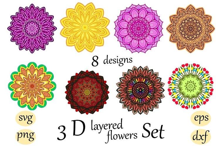 3 D layered flower bundle set Mandala svg cut file