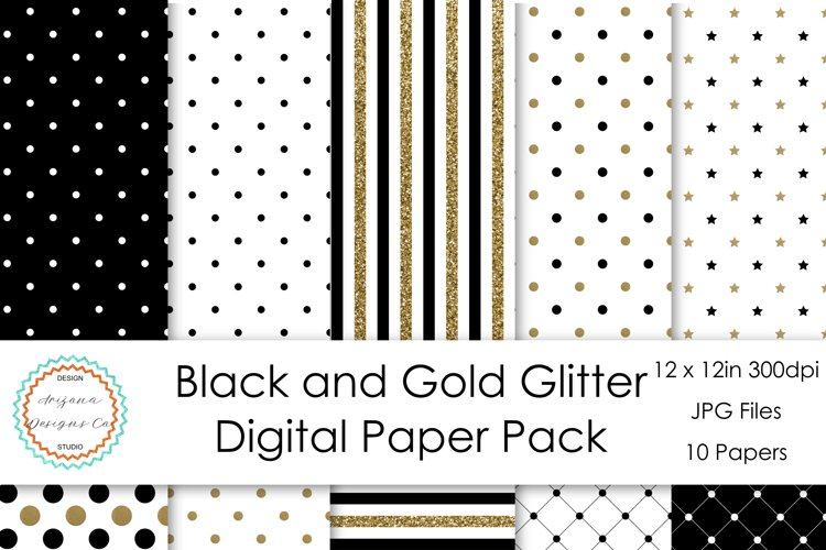 Black and Gold Glitter Digital Paper Pack example image 1