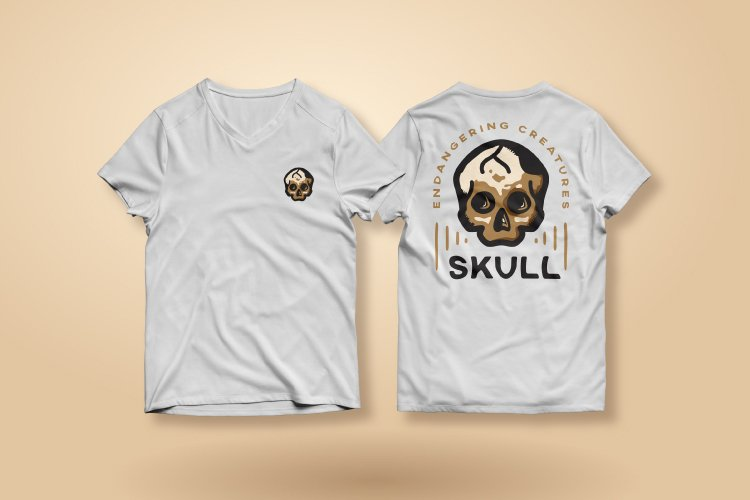 Vintage Logo for Abstract Dangerous Skull example 1