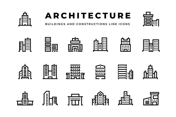 Building line icons. Cityscape with skyscrapers business cen example image 1