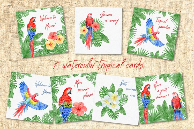 Watercolor tropical cards | JPEG PNG PSD