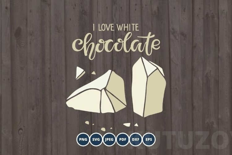 I love Chocolate SVG PNG Eps. Handwritten lettering quote example image 1