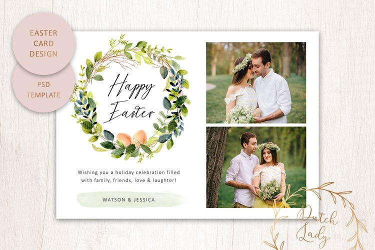 PSD Easter Photo Card Template - Single Sided - #5