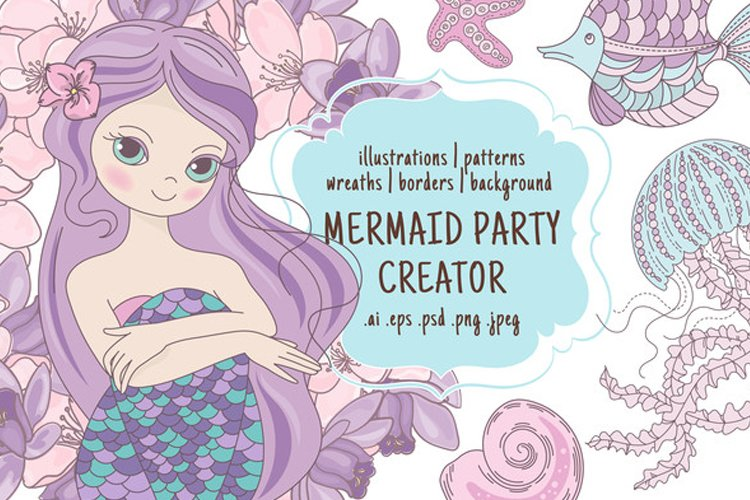 MERMAID PARTY CREATOR Holiday Vector Illustration Set