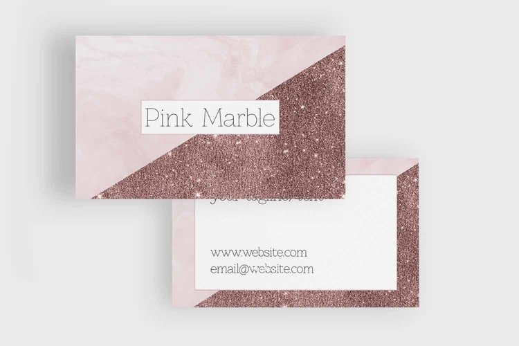 Pink Marble and Glitter Business Card Template example 1