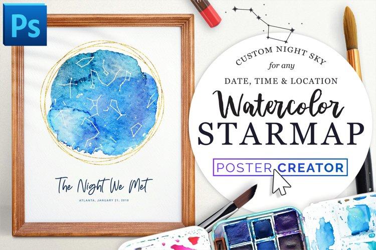 Watercolor StarMap Poster Creator example image 1