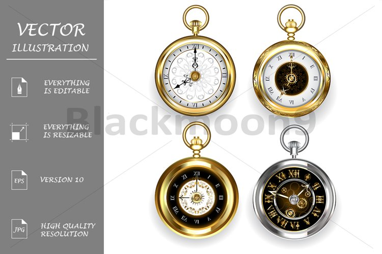 Set of Round Clock ( Steampunk ) example image 1