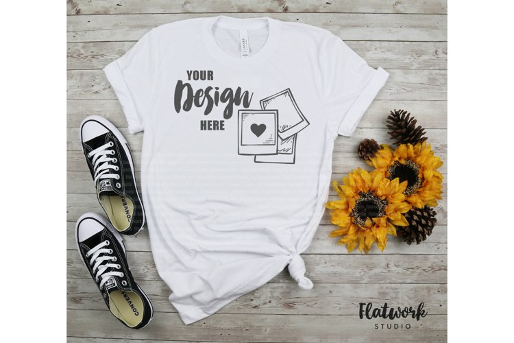 Fall Mockup | Bella Canvas 3001 T-shirt | Solid White Blend example image 1