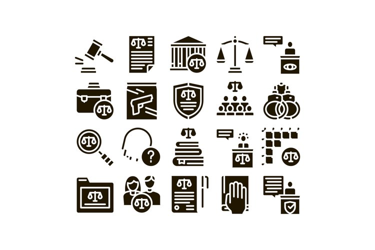 Law And Judgement Glyph Set Vector example image 1