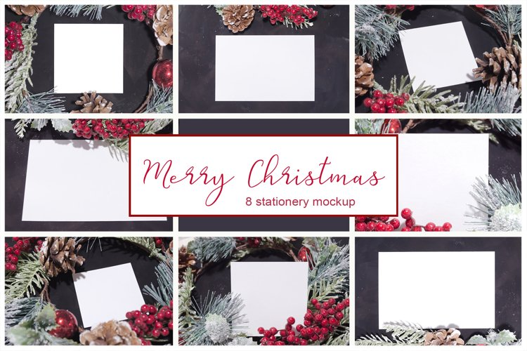 Merry Christmas. 8 cards mockups example image 1