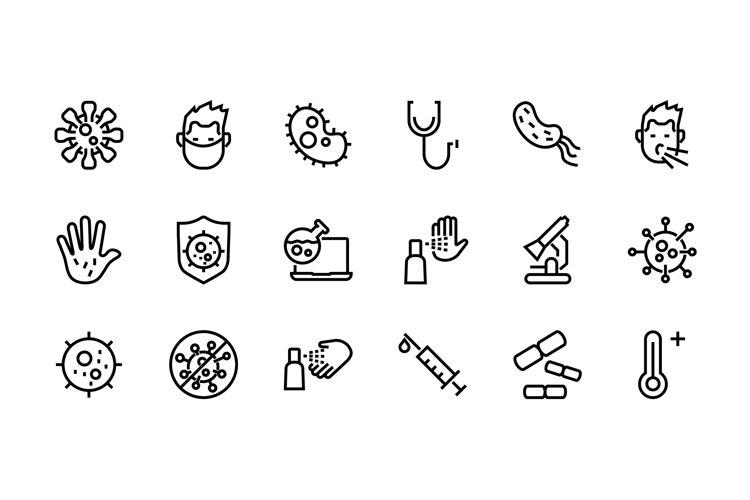 CORONAVIRUS set of icons EPS 10 example image 1