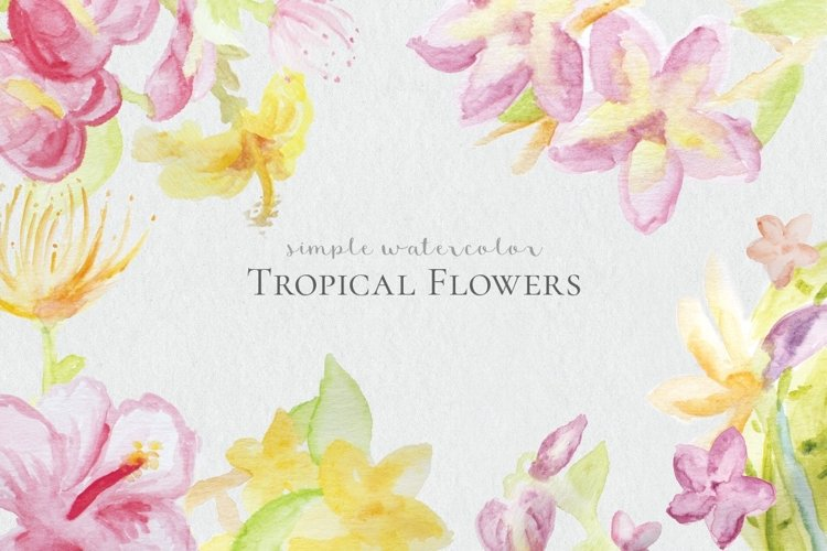 Watercolor Tropical Flowers example image 1