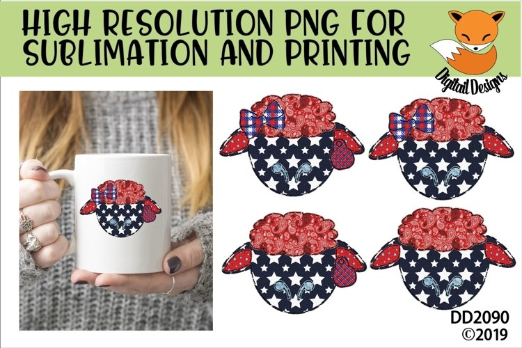 Patriotic Americana Faux Patchwork Sheep Sublimation example image 1