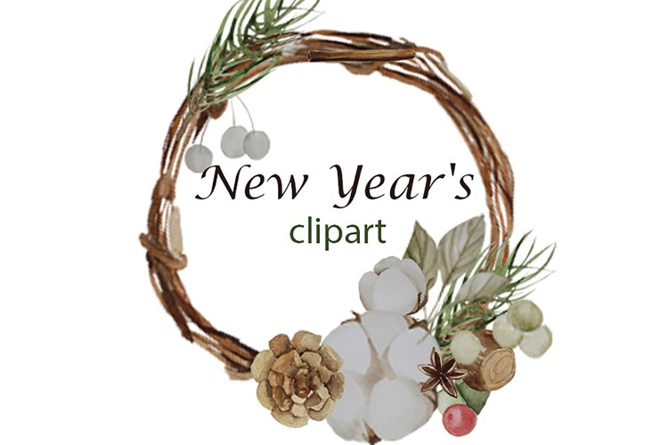Christmas watercolor clipart, Cotton, wreath, bump, Berrie example image 1